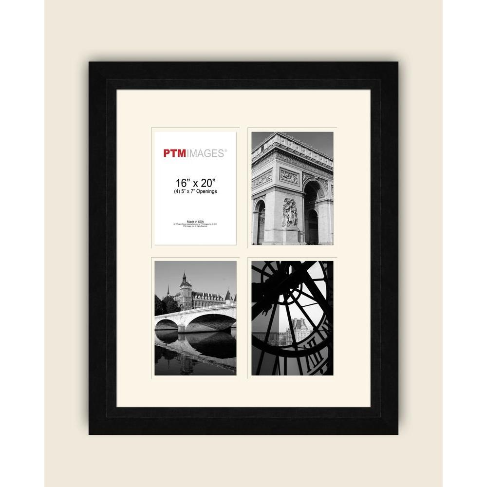 PTM Images 4-Opening 5 in. x 7 in. White Matted Black Photo Collage Frame