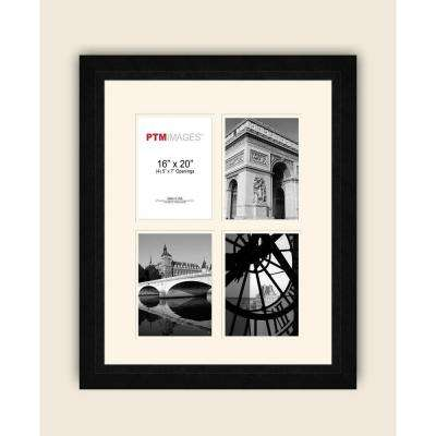 4-Opening 5 in. x 7 in. White Matted Black Photo Collage Frame
