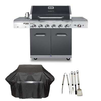 Deluxe 6-Burner Propane Gas Grill in Slate with Ceramic Searing Side Burner Plus Cover and Tool Set