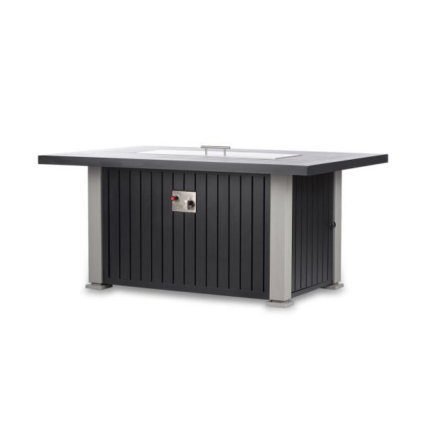 Maxwell 52 in. x 35 in. Aluminum Rectangle Chat Propane Fire Pit Table in Gray with Cover