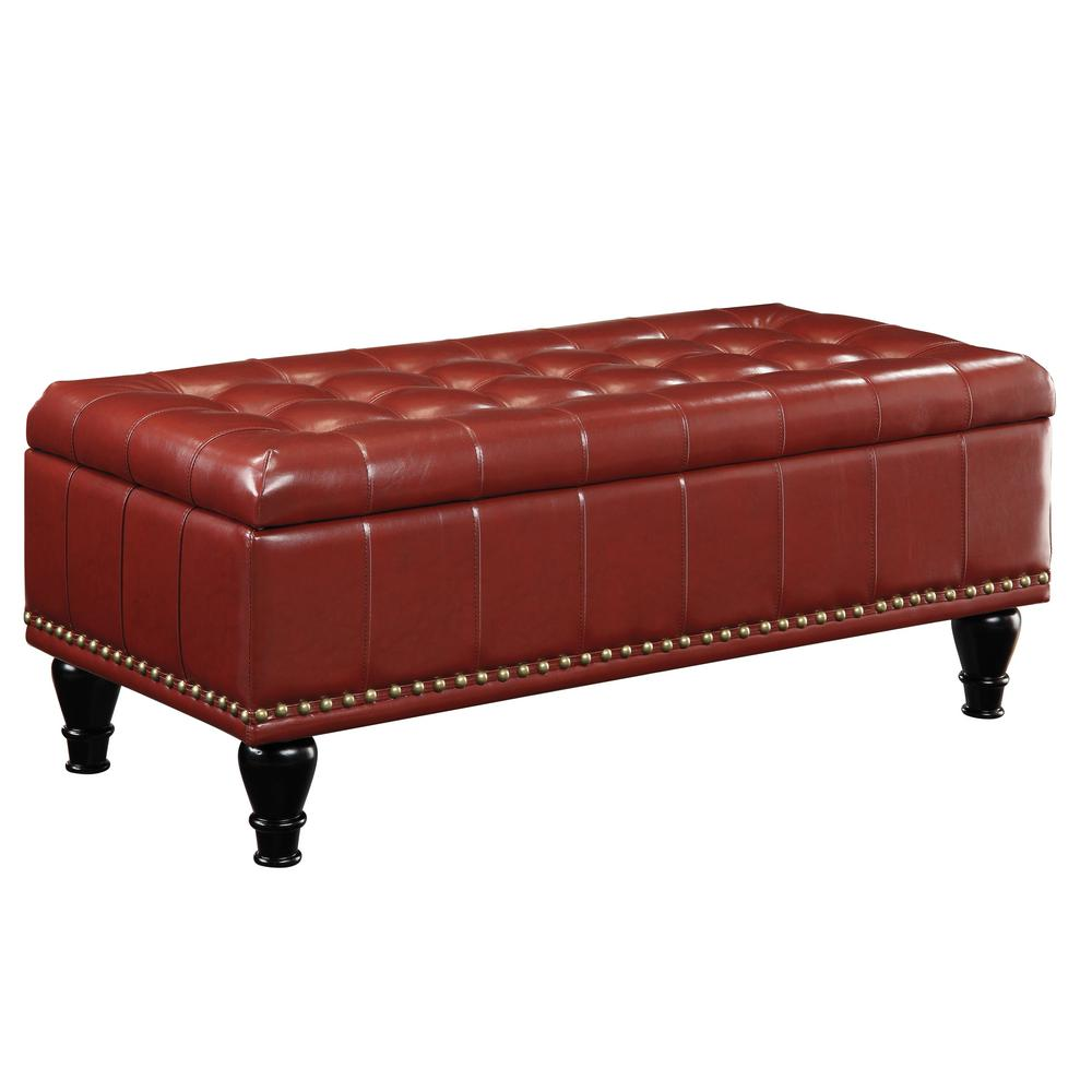 Caldwell Crimson Red Storage Ottoman