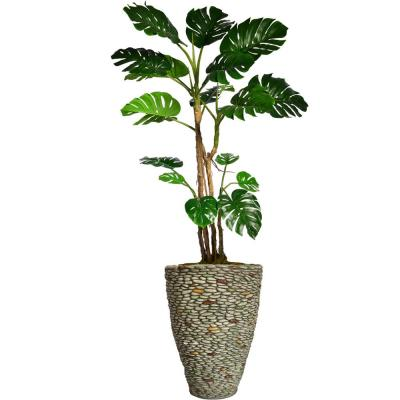 85.5 in. Tall Monstera Artificial Faux Home Decor with Burlap Kit and Fiberstone Planter