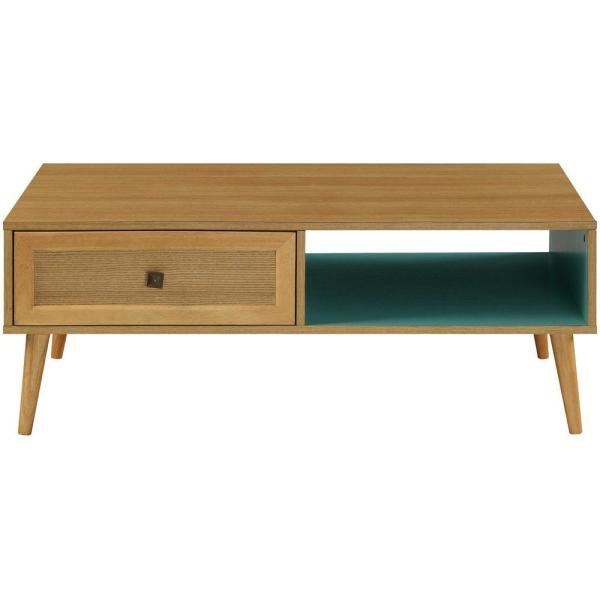 Jayce 47 in. Brown/Natural Large Rectangle Wood Coffee Table with Drawers