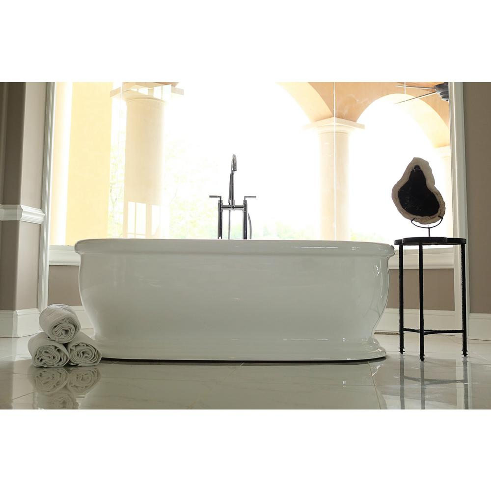 Merveilleux Acrylic Flatbottom Non Whirlpool Bathtub In White