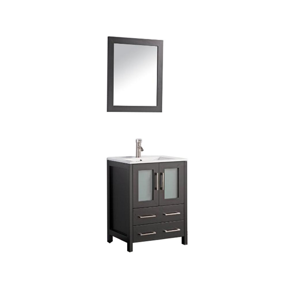 Vanity Art Brescia 24 in. W x 18 in. D x 36 in. H Bath Vanity in Espresso with Vanity Top in White with White Basin and Mirror was $599.0 now $461.25 (23.0% off)