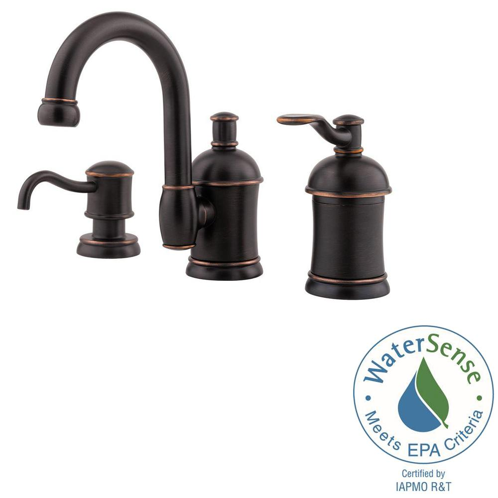 Pfister Amherst 8 in. Widespread Single-Handle Bathroom Faucet with Soap Dispenser in Tuscan Bronze