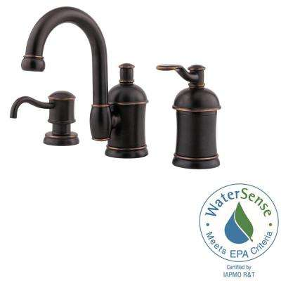 Amherst 8 in. Widespread Single-Handle Bathroom Faucet with Soap Dispenser in Tuscan Bronze