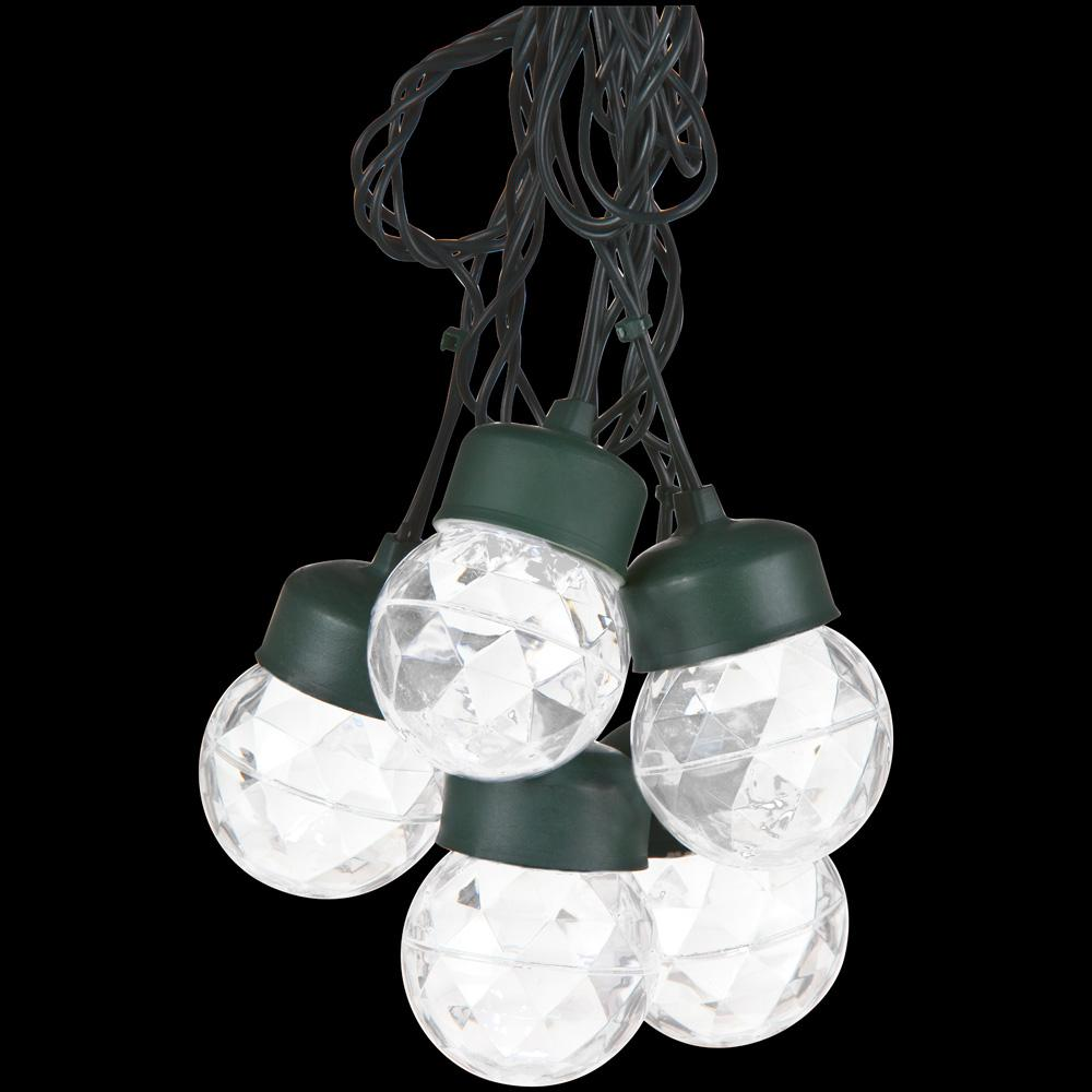LightShow Outdoor Projection 8-Light White Round Light String with Clips