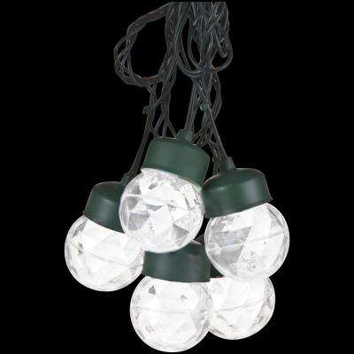 Outdoor Projection 8-Light White Round Light String with Clips