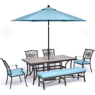 Monaco 5 Piece Aluminum Outdoor Dining Set With 2 Dining Chairs, 2 Benches,