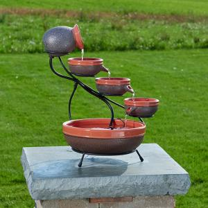Smart Solar Ceramic Solar Cascade Fountain with Tangerine and Rustic Brown Finish by Smart Solar