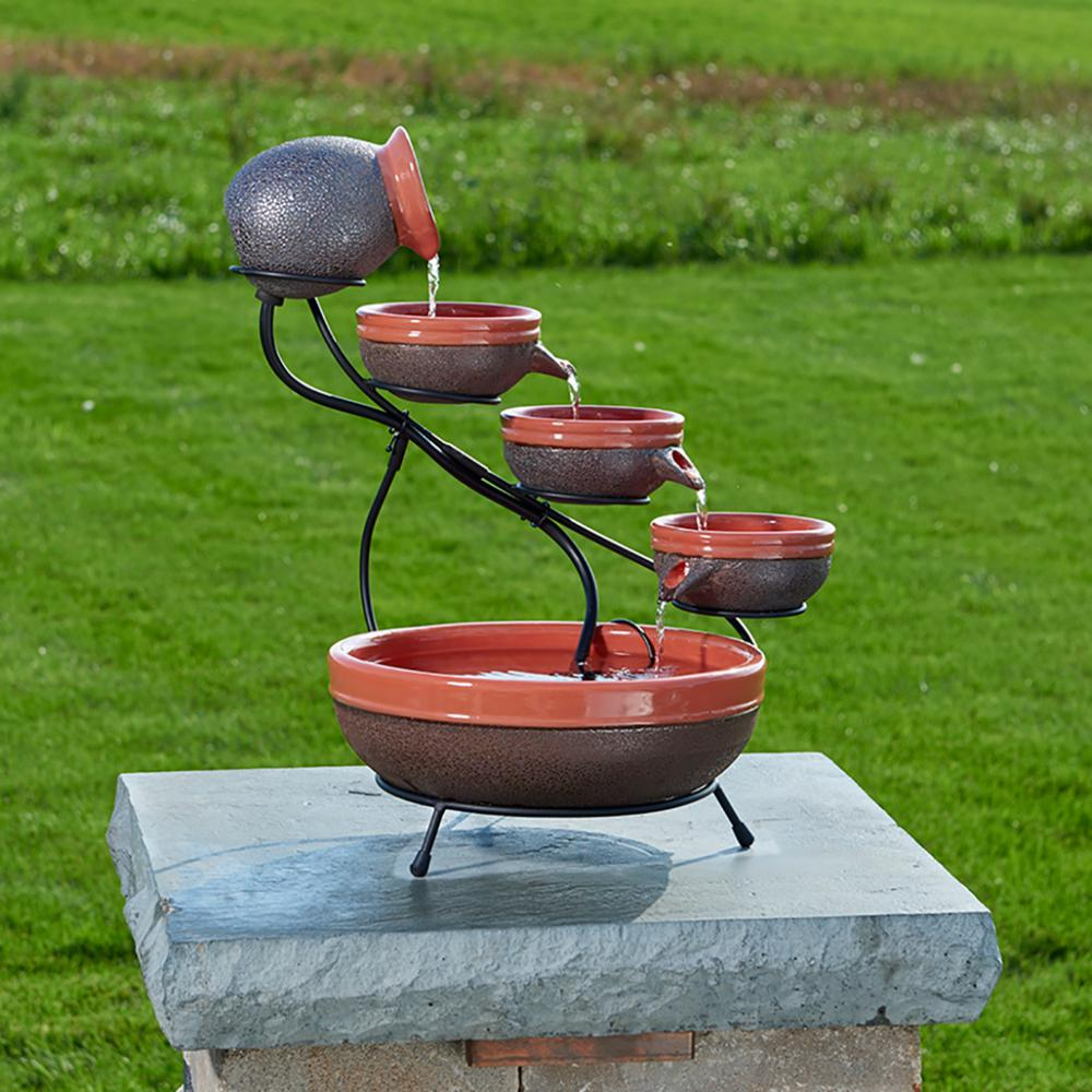 Smart Solar Ceramic Cascade Fountain With Tangerine And Rustic Brown Finish
