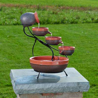 Ceramic Solar Cascade Fountain with Tangerine and Rustic Brown Finish