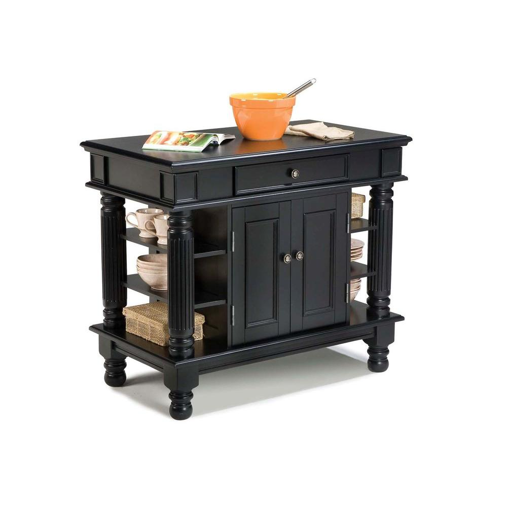 Home Styles Americana Black Kitchen Island With Storage 5092 94 The Depot
