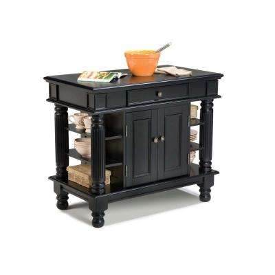 Americana Black Kitchen Island With Storage