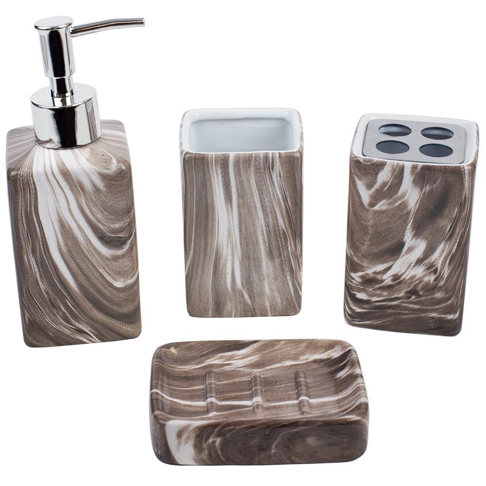 Marble Ceramic 4-Piece Bath Accessory Set in Ebony