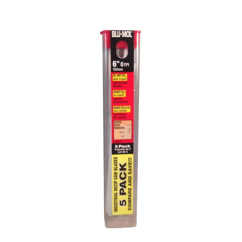 BLU-MOL 6 in. x 3/4 in. x 0.050 in. 6 Teeth per in. Wood Cutting Bi-Metal Reciprocating Saw Blade (5-Pack)
