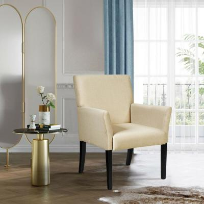 Beige Linen Accent Chair Upholstered Chair