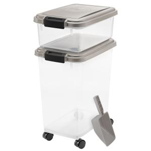 12 Qt. and 33 Qt. Airtight Pet Food Storage Combo with a Scoop in Gray