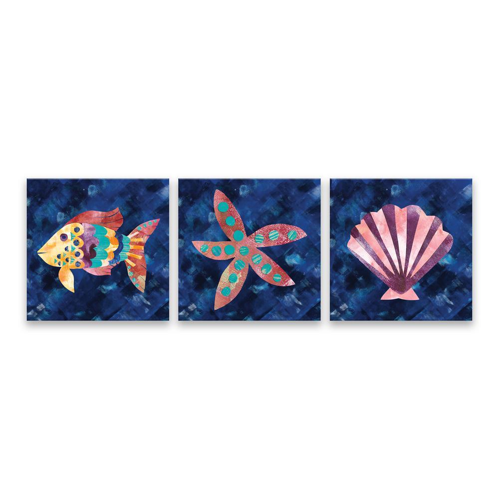 "Artissimo Designs Artissimo Designs ""Boho Reef - Set of 3""by Wild Apple Portfolio Printed Canvas Wall Art, Navy/ Yellow/ Red/ Purple/ Pink/ Red-Orange/ Turquoise"
