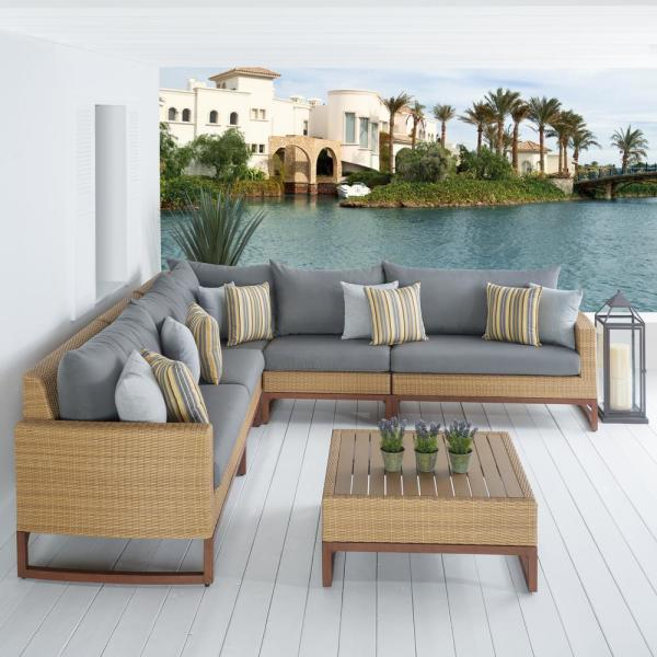 Mili 6-Piece Wicker Patio Sectional Seating Set with Sunbrella Charcoal Grey Cushions