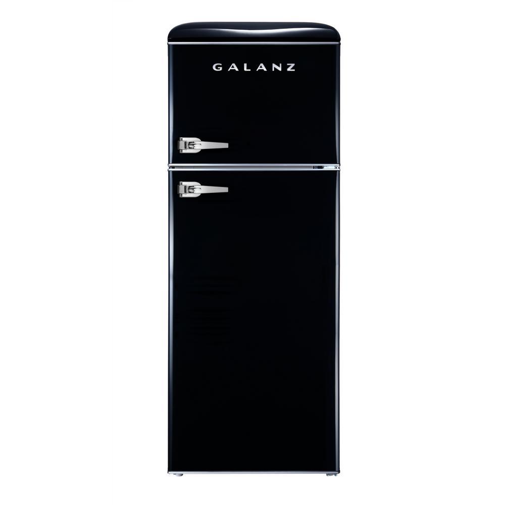 Retro Mini Fridge With Dual Door True Freezer In Black