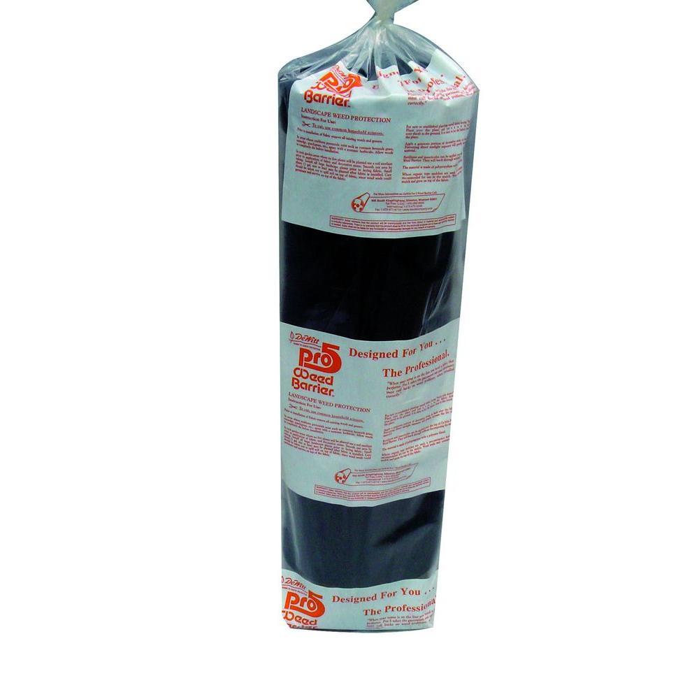 4 ft. W x 250 ft. L Polypropylene Black Pro 5 Weed Barrier