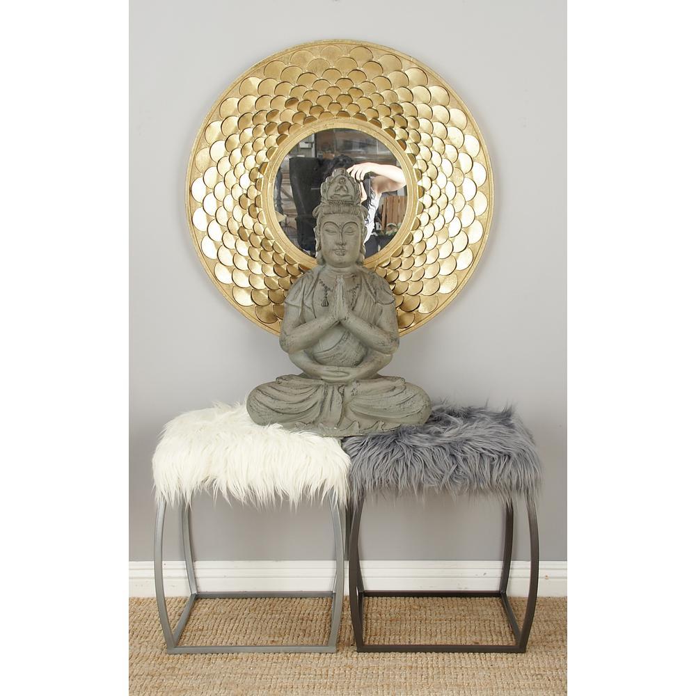 White Faux Fur Metal-Framed Ottoman