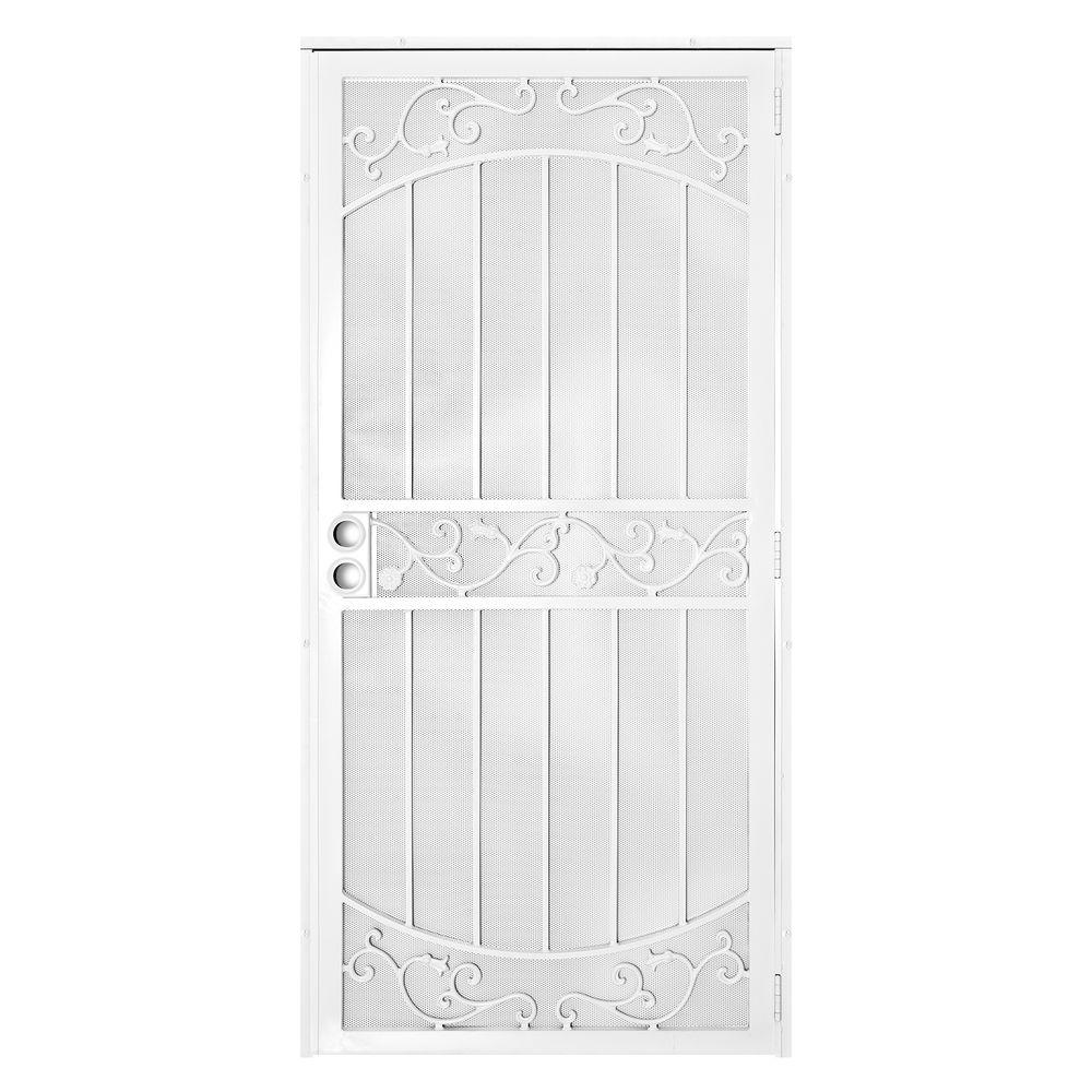 Unique Home Designs 36 in. x 80 in La Entrada White Surface Mount Outswing Steel Security Door with Perforated Metal Screen