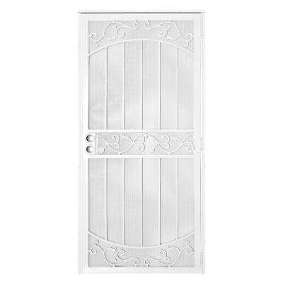 36 in. x 80 in La Entrada White Surface Mount Outswing Steel Security Door with Perforated Metal Screen