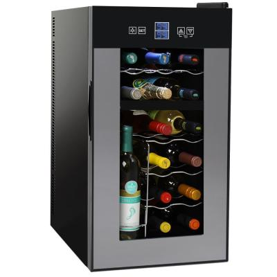 12.25 in. 18-Bottle Dual Zone Thermoelectric Wine Beverage Cooler Freestanding Refrigerator with LCD Touch Controls