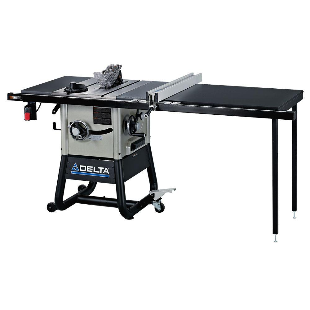 Delta 15 amp 10 in left tilt contractor saw with 52 in right hand delta 15 amp 10 in left tilt contractor saw with 52 in right hand rip steel wings and rolling stand 36 5052 the home depot keyboard keysfo Images