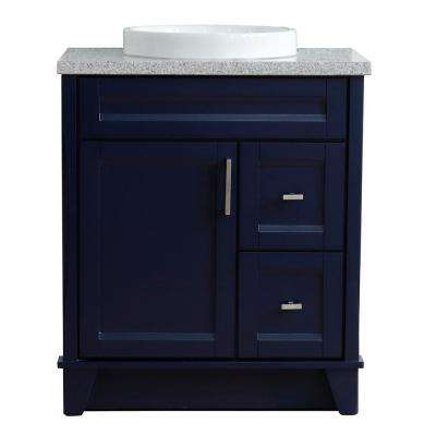 31 in. W x 22 in. D Single Bath Vanity in Blue with Granite Vanity Top in Gray with White Round Basin