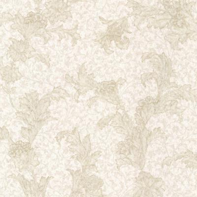 Empire Neutral Floral Scroll Wallpaper