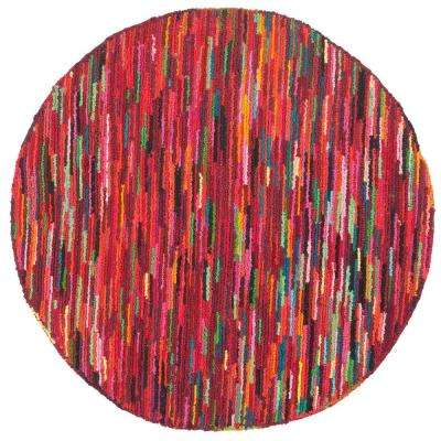 Nantucket Pink/Multi 4 ft. x 4 ft. Round Area Rug