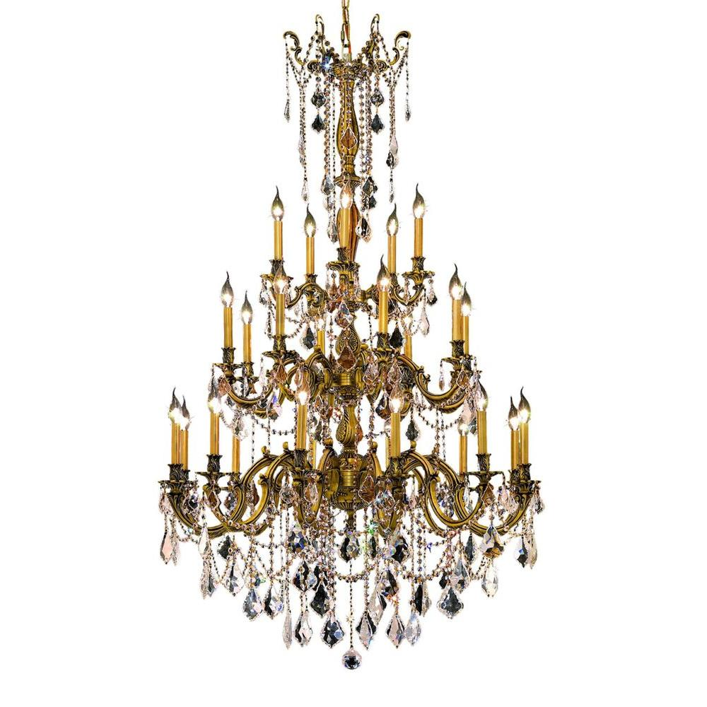 25-Light French Gold Chandelier with Clear Crystal