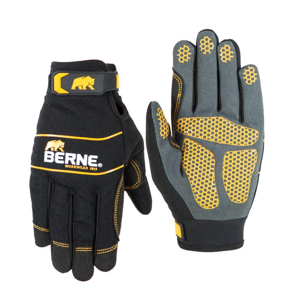 Medium Black Hex-Grip Performance Gloves (1-Pack)