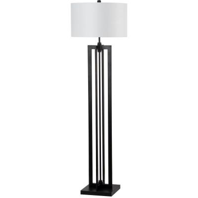 Tanya Tower 58.5 in. Black Floor Lamp with Off-White Shade