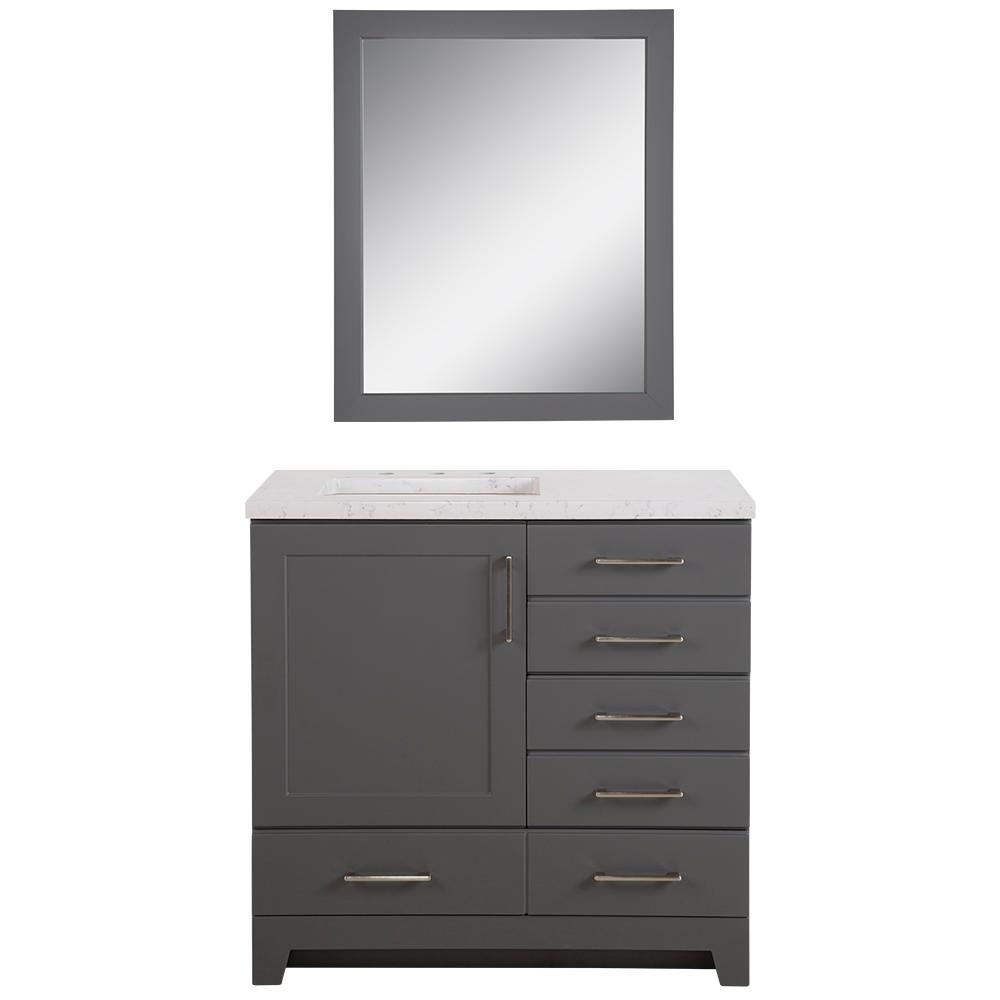 Home Decorators Collection Haverbrook 36.50 in. W x 18.75 in. D Bath Vanity in Cement w/ Stone Effect Vanity Top in Pulsar w/ White Sink and Mirror