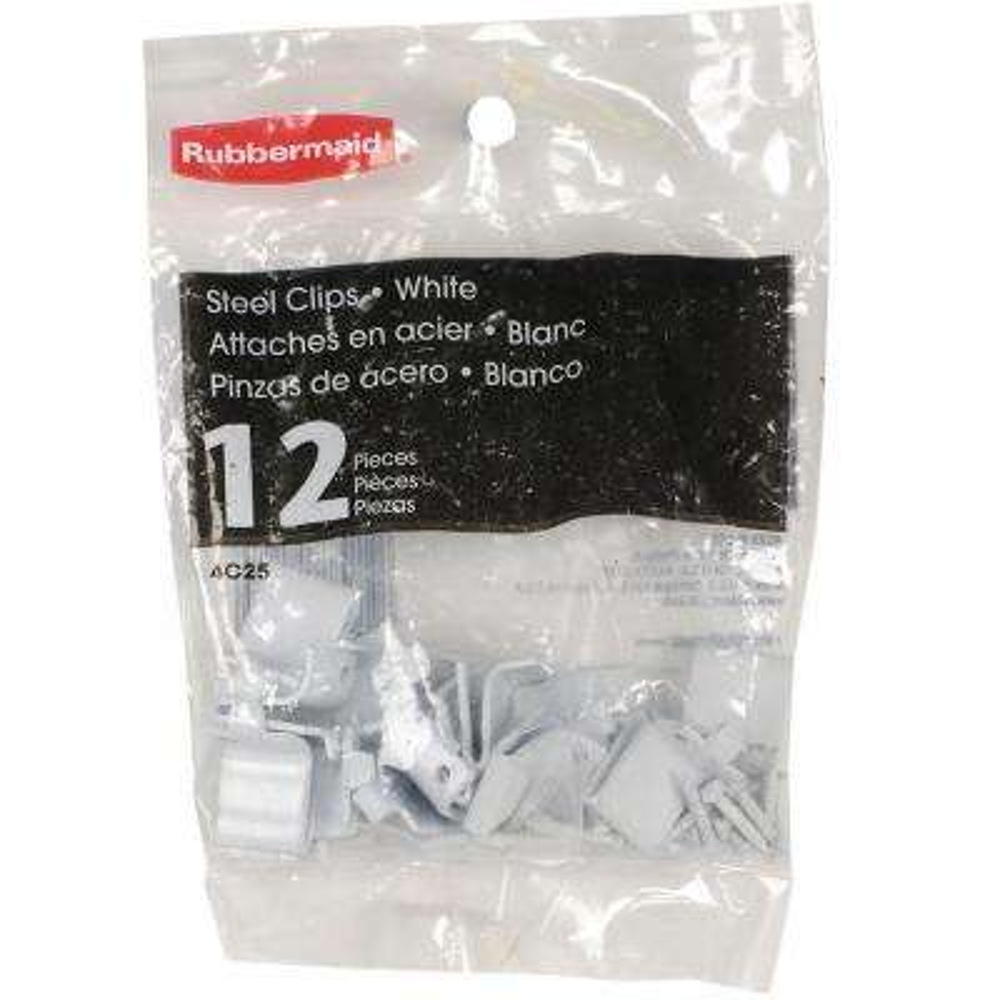 White Shelf Support Clips (12-Pack)