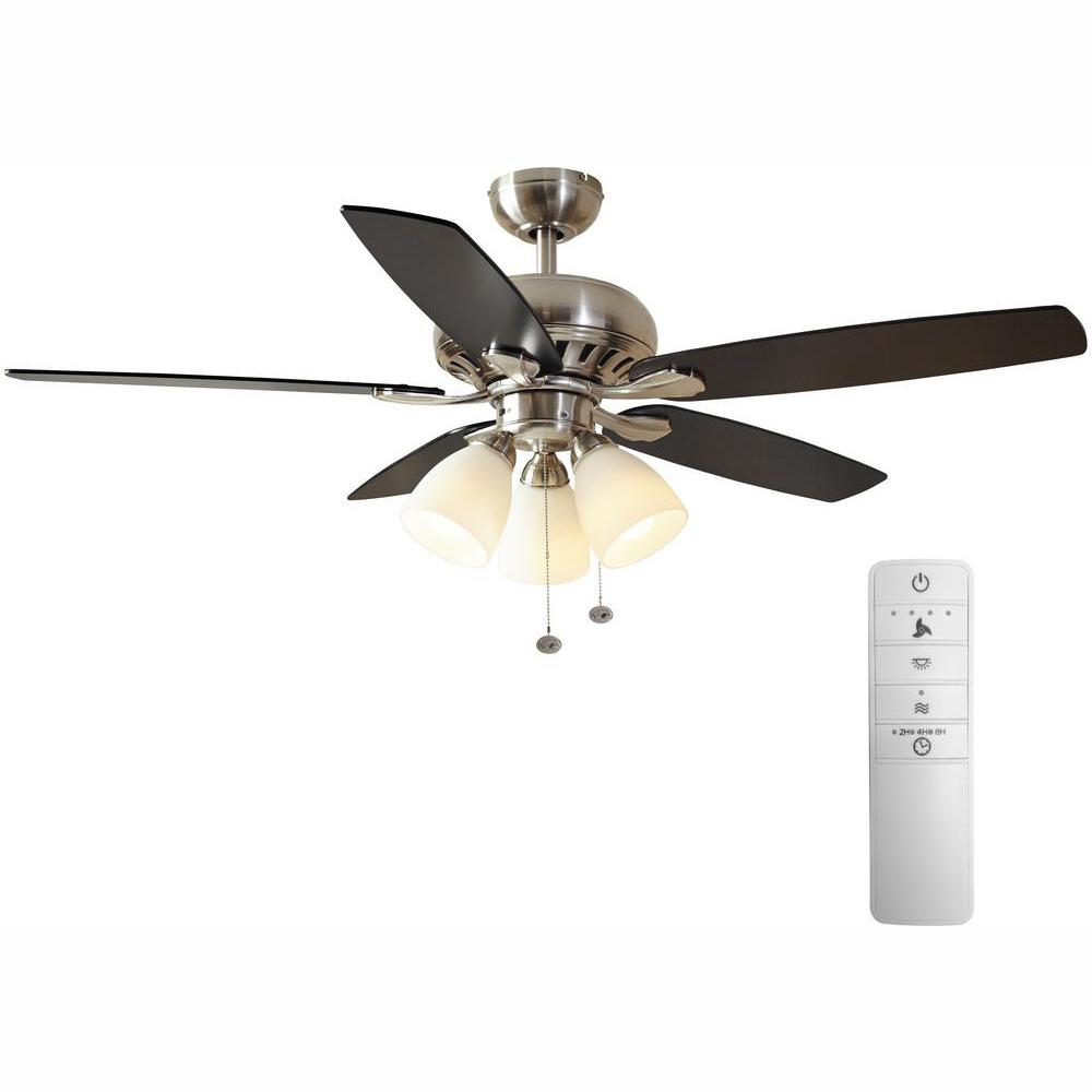 Hampton Bay Rockport 52 in. LED Indoor Brushed Nickel Smart Ceiling Fan with Light Kit and WINK Remote Control
