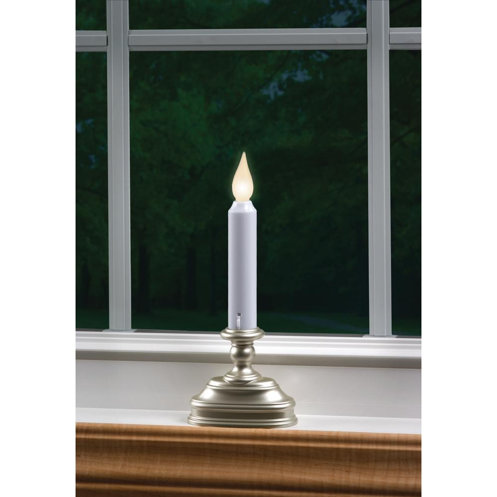 Warm white led standard battery operated candle with pewter base