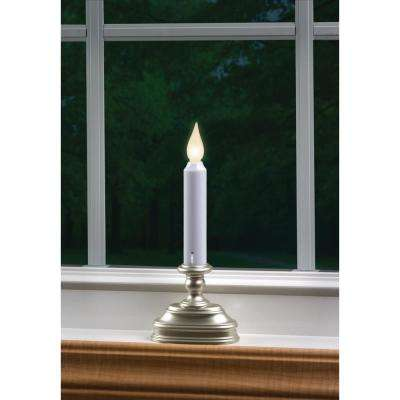 8.5 in. Warm White LED Standard Battery Operated Candle with Pewter Base