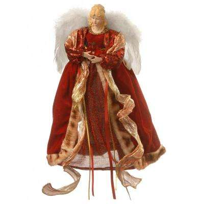 16 in. Burgundy Angel Tree Topper with Dual LED Lights