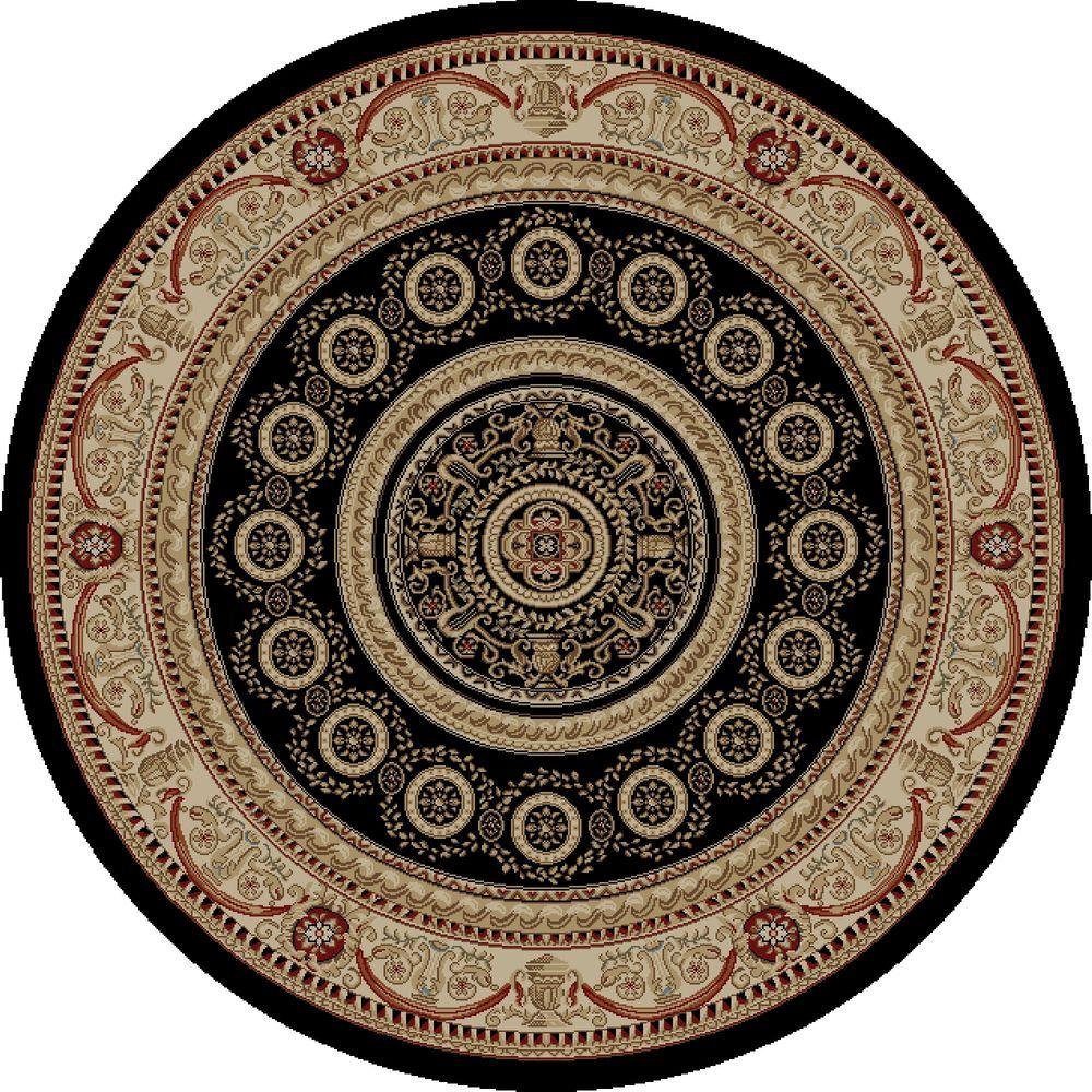 Concord Global Trading Jewel Aubusson Black 5 ft. 3 in. Round Area Rug