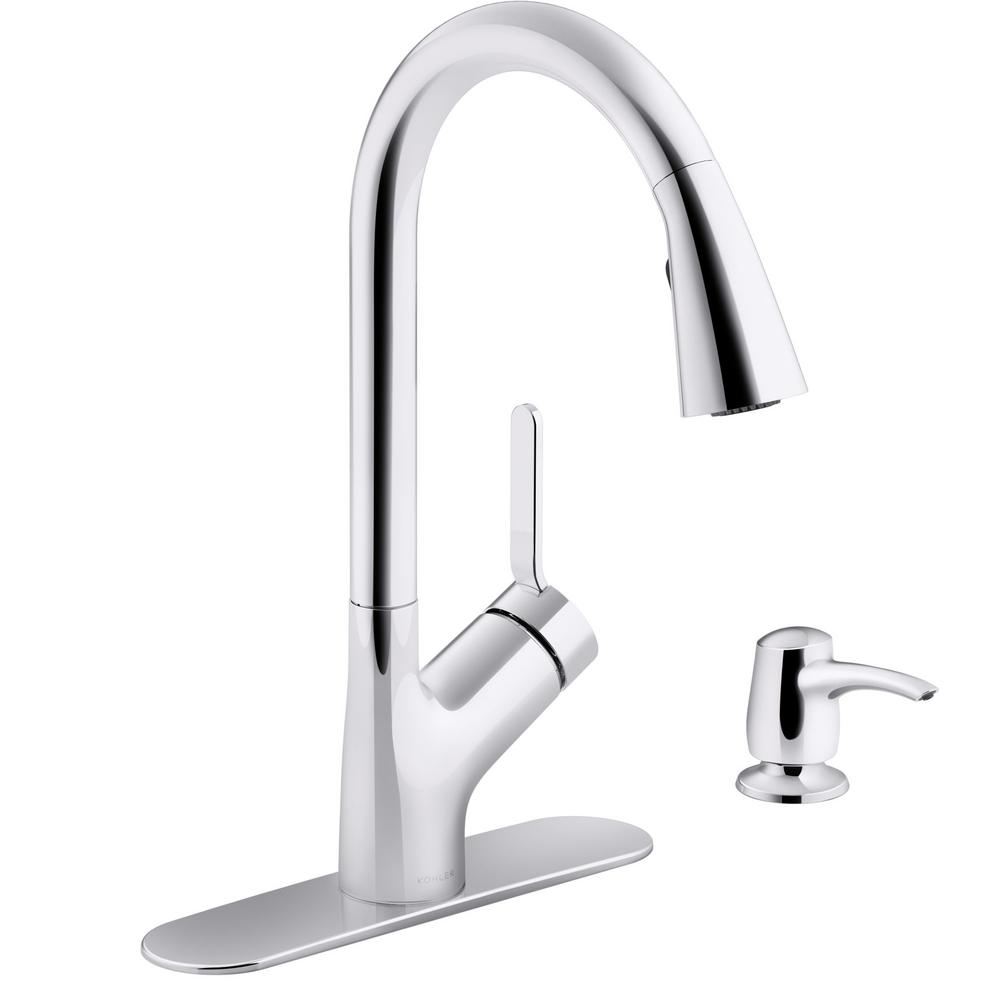 KOHLER Setra Single-Handle Touchless Pull-Down Sprayer Kitchen Faucet in  Polished Chrome