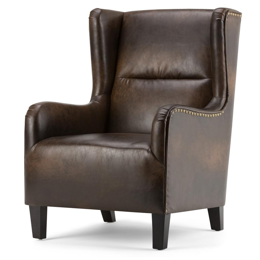 Simpli Home Taylor Distressed Brown Bonded Leather Wing ...