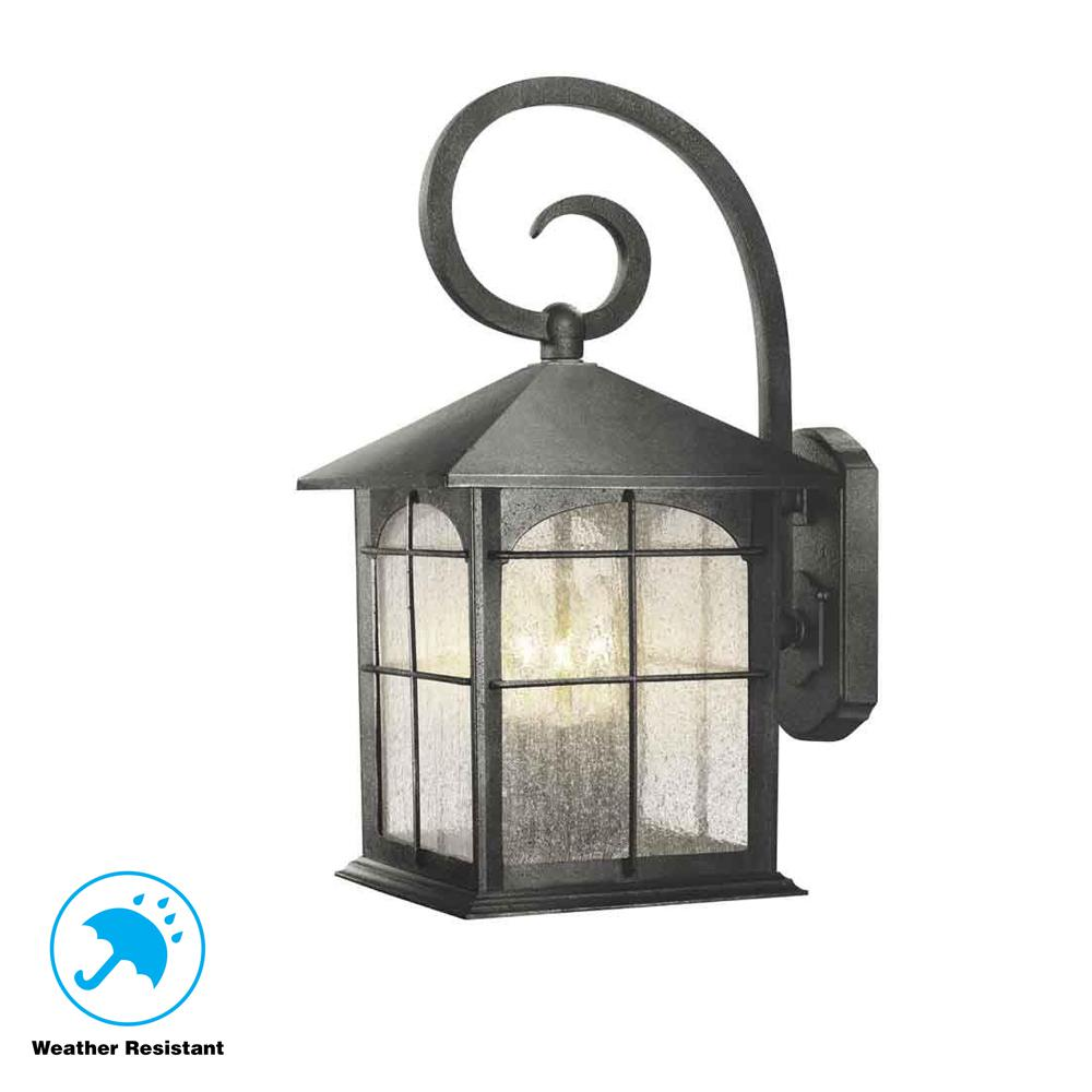 Brimfield 3 light aged iron outdoor wall lantern