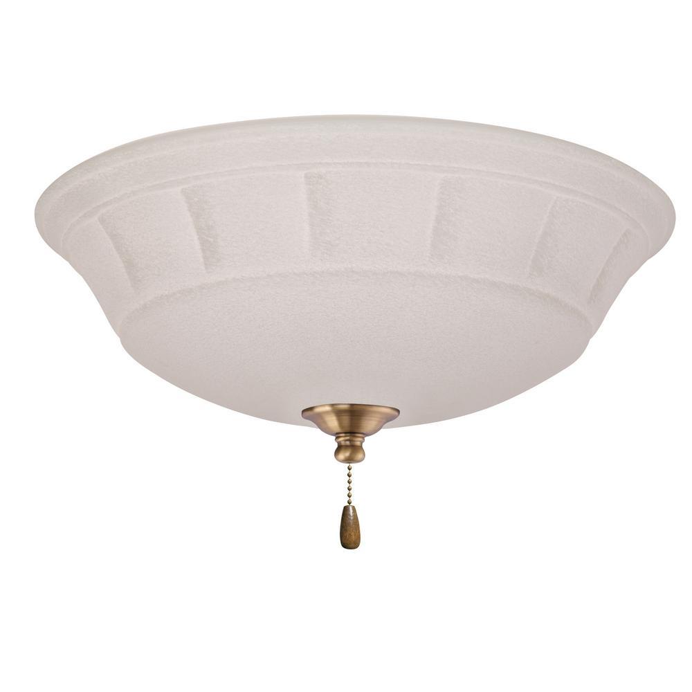Grande White Mist 3-Light Antique Brass Ceiling Fan Light Kit