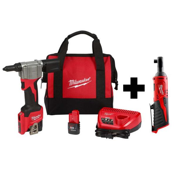 M12 12-Volt Lithium-Ion Cordless Rivet Tool Kit with M12 3/8 in. Ratchet